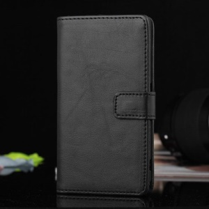 Black PU Leather Magnetic Case w/ Stand for Sony Xperia Z1 Compact D5503