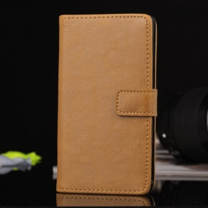 Brown PU Leather Card Holder Cover w/ Stand for Sony Xperia Z1 Compact D5503