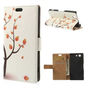 Illustration Style Leather Wallet Case for Sony Xperia Z3 Compact D5803 - Maple Tree