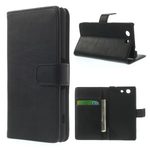 Retro Style Texture Wallet Leather Stand Cover for Sony Xperia Z3 Compact D5803 M55w - Black