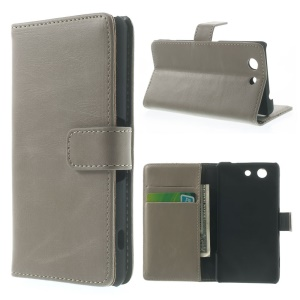 Retro Style Texture Wallet Leather Stand Cover for Sony Xperia Z3 Compact D5803 M55w - Grey
