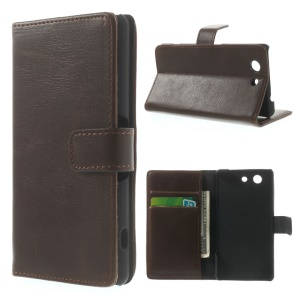 Retro Style Texture Leather Wallet Case for Sony Xperia Z3 Compact D5803 M55w - Coffee
