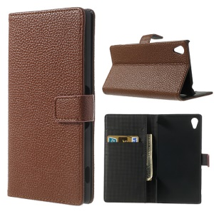 Litchi Skin Leather Card Holder Case w/ Stand for Sony Xperia Z2 D6502 D6503 D6543 - Brown