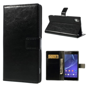 Crazy Horse for Sony Xperia Z2 D6502 D6503 D6543 Flip Leather Card Holder Case - Black