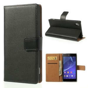 Genuine Split Leather Flip Case para Sony Xperia Z2 D6502 D6503 D6543 com Stand - Preto