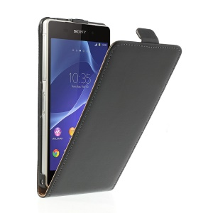 Black Genuine Split Leather Vertical Flip Case for Sony Xperia Z2 D6502 D6503 D6543