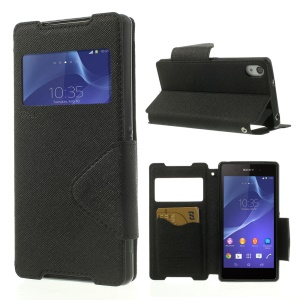Roar Korea Diary View Window Leather Case for Sony Xperia Z2 D6502 D6503 D6543 - Black
