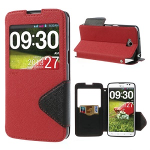 Roar Korea Fancy Diary Leather Case Stand w/ View Window for LG G Pro Lite D684 Dual D686 - Black / Red
