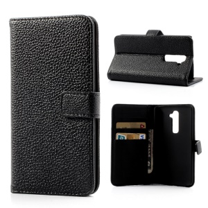 Black Litchi Skin Leather Wallet Case for LG Optimus G2 D801 D802 D803 w/ Stand