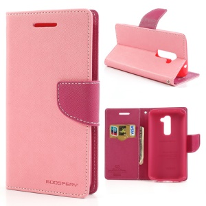Mercury GOOSPERY Fancy Diary Leather Wallet Case for LG Optimus G2 D801 D802 D803 - Rose / Pink