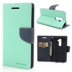Mercury GOOSPERY Fancy Diary Leather Case Magnetic for LG Optimus G2 D801 D802 D803 - Dark Blue / Cyan