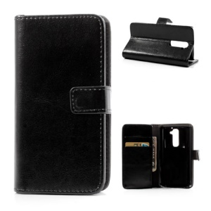 Crazy Horse Leather Magnetic Case w/ Stand for LG Optimus G2 D801 D802 D803 - Black