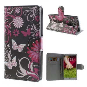 Butterfly & Flower Wallet Leather Phone Case Stand for LG Optimus G2 D801 D802