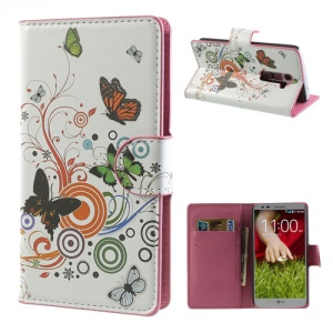 For LG Optimus G2 D801 D802 Credit Card Wallet Leather Case Vivid Butterfly Circle Pattern