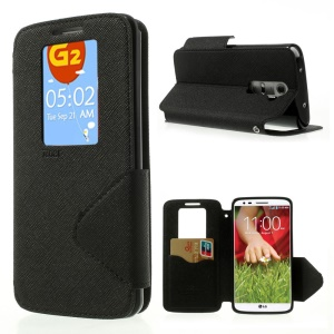 ROAR for LG Optimus G2 D803 VS980 Fancy Diary View Window Wallet Leather Cover - Black