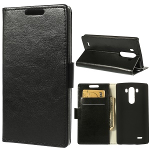 Black Magnetic Crazy Horse Wallet Leather Case Stand for LG G3 D850 LS990