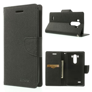 Mercury GOOSPERY Fancy Diary Wallet Leather Stand Case for LG G3 D850 D855 LS990 - Black