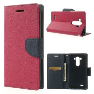 Mercury GOOSPERY Fancy Diary Wallet Leather Stand Shell Cover for LG G3 D850 D855 LS990 - Dark Blue / Rose
