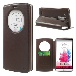 Roar Coréia Noble Leather View Magnetic Capa para LG G3 D850 D855 LS990 - Marrom