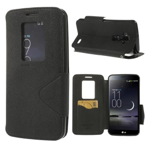 Roar Korea Hollowed Window Diary Leather Case for LG G Flex D950 D955 D958 D959 LS995 - Black