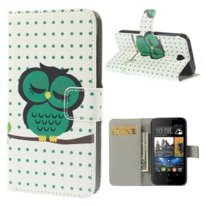 For HTC Desire 310 Sleeping Owl & Dots Stand Leather Wallet Cover