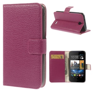 Litchi Texture Folio Stand Leather Case w/ Card Slots for HTC Desire 310 - Rose
