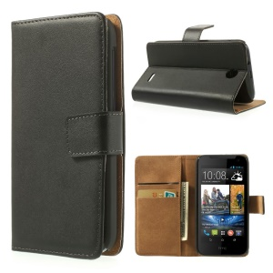 Black Genuine Split Leather Wallet Case with Stand for HTC Desire 310