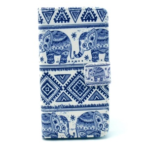 Elephant Geometric Pattern Magnetic Leather Card Holder Case for HTC Desire 500 506E Zara