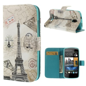 Paris Eiffel Tower Leather Protective Case w/ Stand for HTC Desire 500 506E