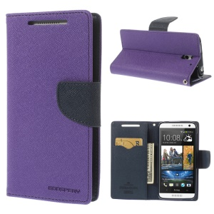 Mercury GOOSPERY Fancy Diary Wallet Leather Cover for HTC Desire 610 w/ Stand - Purple
