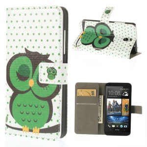 Green Sleeping Owl Wallet Leather Stand Case for HTC Desire 610
