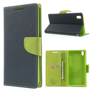 Mercury GOOSPERY for HTC Desire 816 Fancy Diary Series Leather Stand Cover - Green / Dark Blue