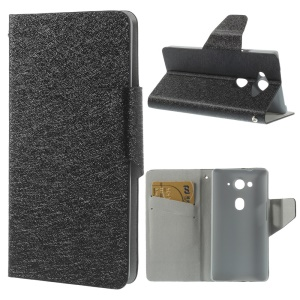 Black Silk Texture Leather Magnetic Case w/ Stand for Acer Liquid E3 E380