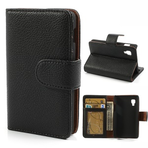Black Litchi Leather Wallet Case w/ Stand for LG Optimus L4 II E440
