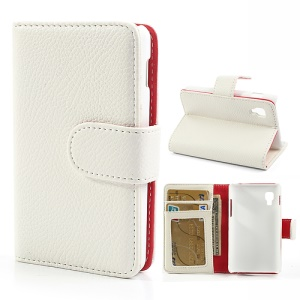 White Litchi Leather Wallet Case w/ Stand for LG Optimus L4 II E440