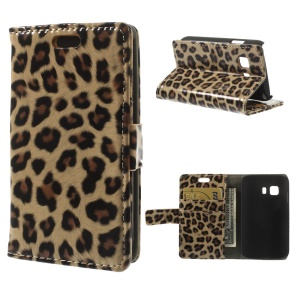 Fashion Leopard Glossy Leather Wallet Case w/ Stand for Samsung Galaxy Young 2 SM-G130