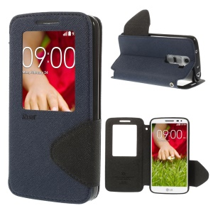 Roar Korea for LG G2 Mini D610 D620 D618 Diary View Window Leather Cover - Deep Blue