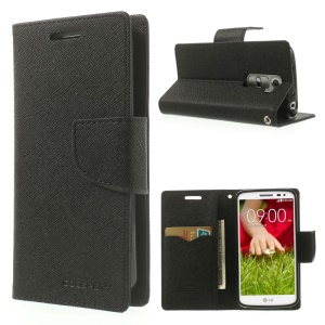 Mercury GOOSPERY Fancy Diary Leather Case w/ Stand for LG G2 Mini D610 D620 D618 - Black