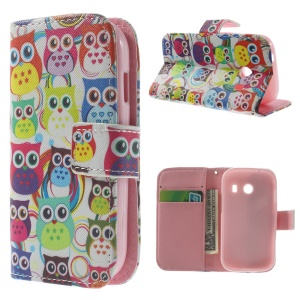 Multiple Owls Magnetic Leather Cover w/ Stand for Samsung Galaxy Ace Style G310