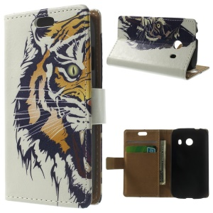 Angry Tiger Wallet Leather Case w/ Stand for Samsung Galaxy Ace Style G310