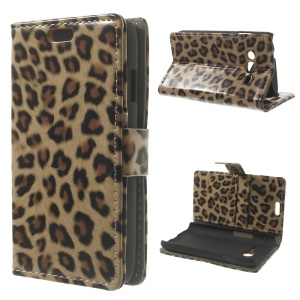 Glossy Leopard Leather Wallet Case for Samsung Galaxy Ace NXT G313H / Ace 4 LTE G313F w/ Stand