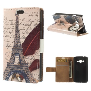 Eiffel Tower & Antique Clock Leather Stand Case w/ Card Slots for Samsung Galaxy Ace NXT G313H