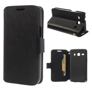 Black Doormoon Genuine Leather Stand Case for Samsung Galaxy Core Plus G3500 w/ Card Slot