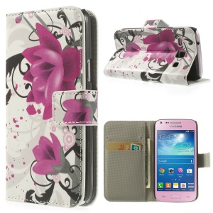 Elegant Lotus Leather Card Holder Magnetic Case w/ Stand for Samsung Galaxy Core Plus G3500 G3502