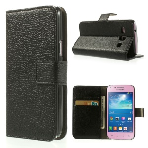 Black Litchi Texture Stand Leather Case w/ Card Slots for Samsung Galaxy Core Plus G3500 G3502