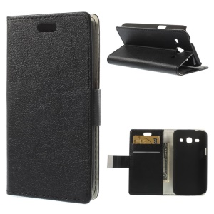 Black Litchi Skin Leather Wallet Case w/ Stand for Samsung Galaxy Star 2 Plus SM-G350E