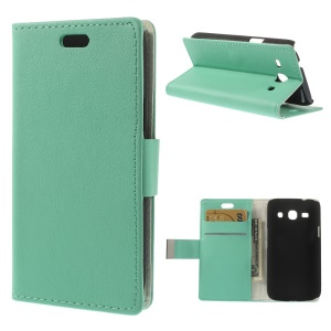 Cyan Litchi Skin Leather Magnetic Cover w/ Stand for Samsung Galaxy Star 2 Plus SM-G350E