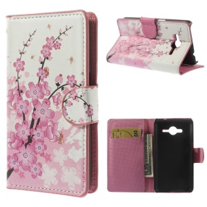 Plum Blossom Leather Wallet Cover w/ Stand for Samsung Galaxy Core II 2 G355H
