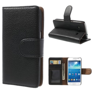 Lychee Leather Wallet Case for Samsung Galaxy Express 2 II G3815 w/ Stand - Black
