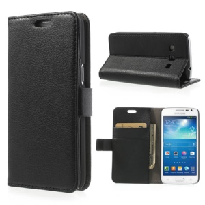Black Litchi Leather Credit Card Wallet Leather Case Stand for Samsung Galaxy Express 2 II G3815